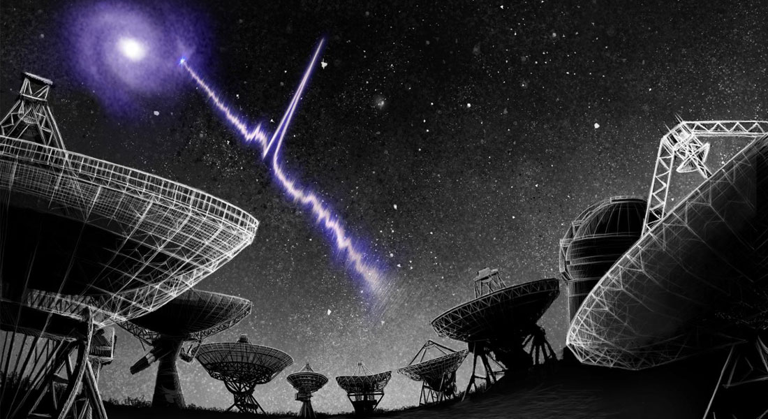 An artist's conception of the localization of fast radio burst FRB 20180916B to its host galaxy.